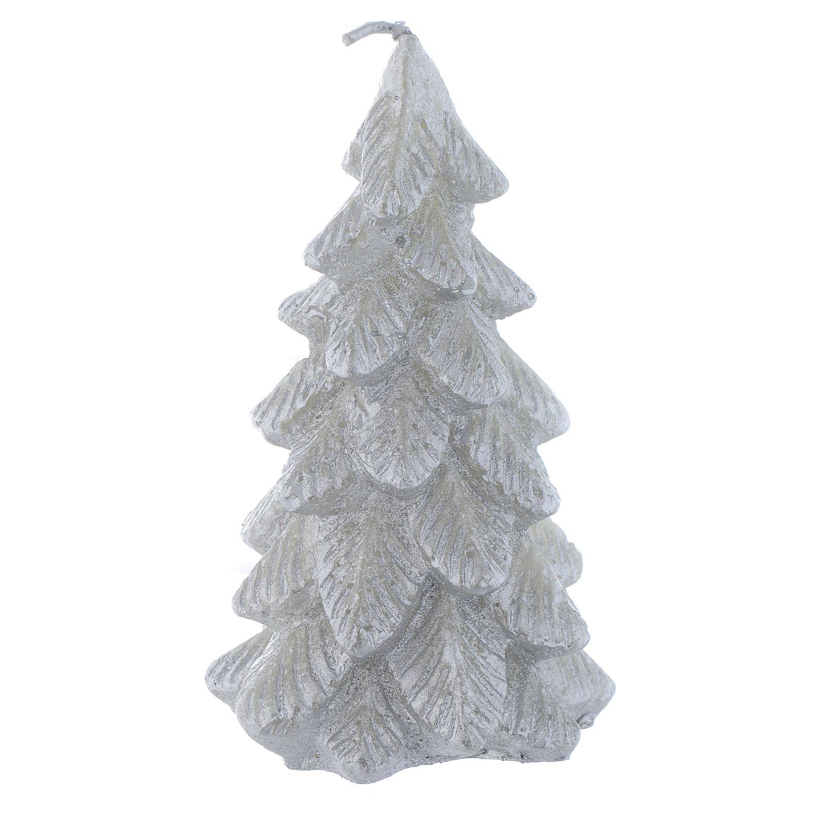 Weihnachtskerze Tannenbaum 11cm versilbert 3