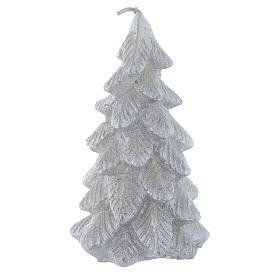 Weihnachtskerze Tannenbaum 11cm versilbert s1