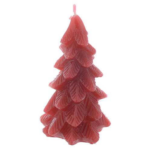 Weihnachtskerze Tannenbaum 11cm rot 1