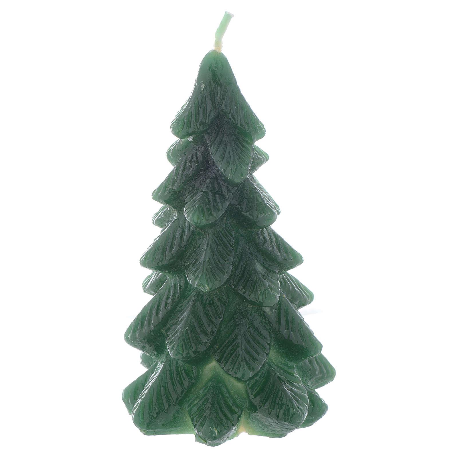 Świeca bożonarodzeniowa choinka 11cm zielona 3