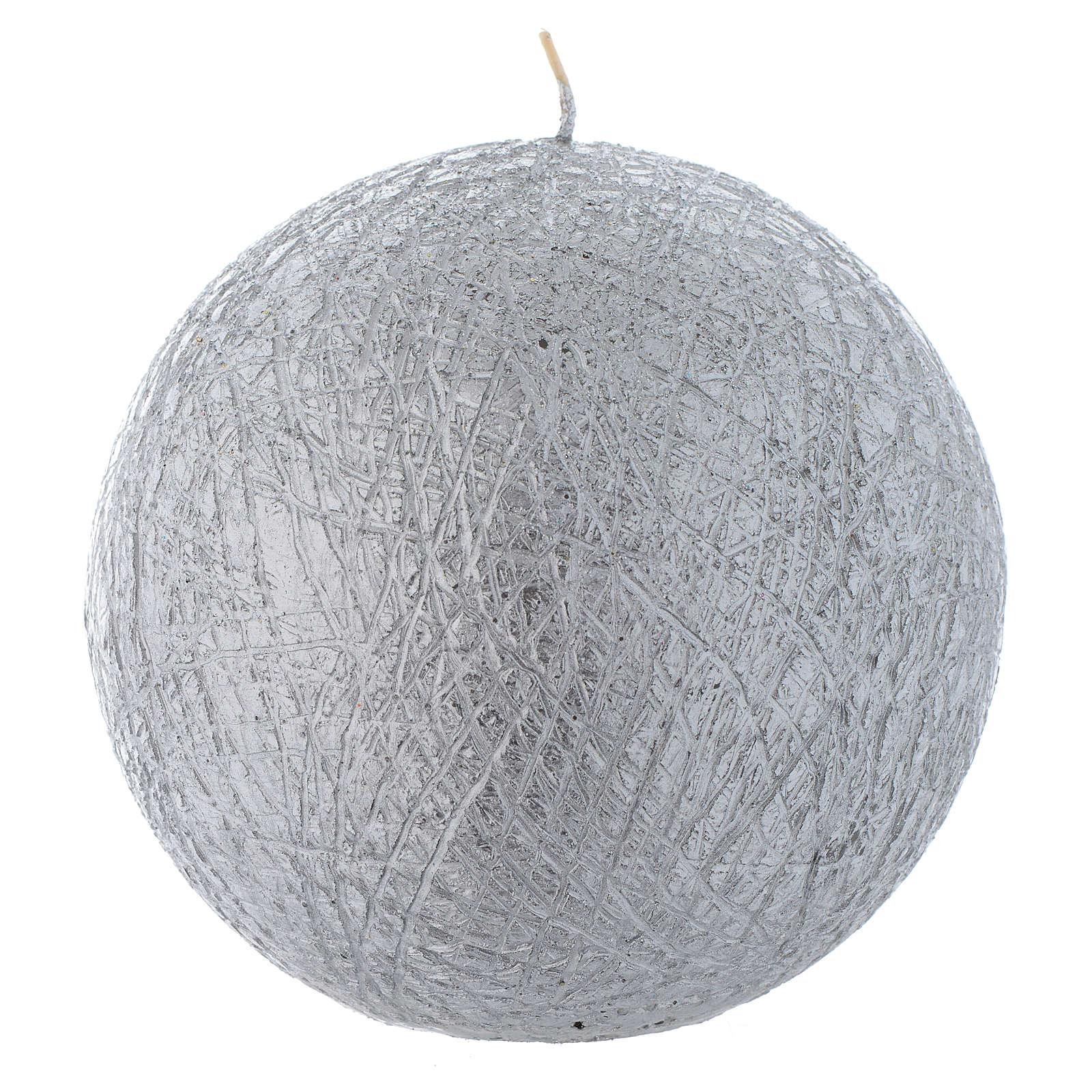 Bougie de Noël Comet sphère 12,5 cm argentée 3