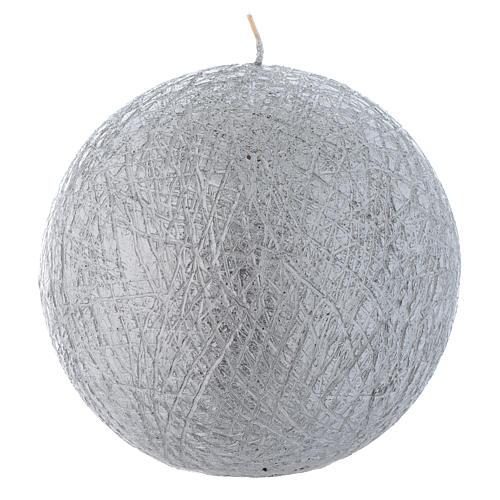 Bougie de Noël Comet sphère 12,5 cm argentée 1