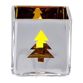 Tealight Stütze gelben Glas mit Deko s1