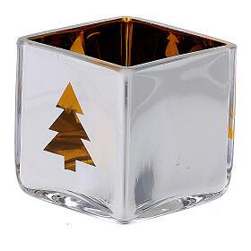 Tealight Stütze gelben Glas mit Deko s2