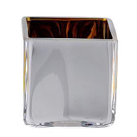 Tealight Stütze gelben Glas mit Deko s5