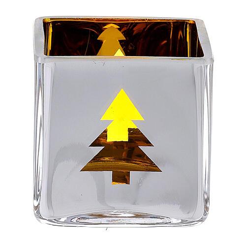 Tealight Stütze gelben Glas mit Deko 1