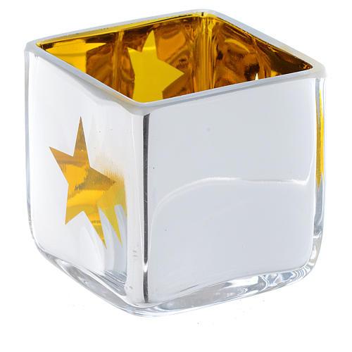 Porta vela de Navidad cúbico amarillo con decoraciones surtidas 1