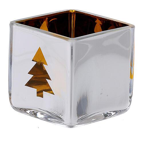 Portatealight di Natale quadro con decoro giallo (assortiti) 2