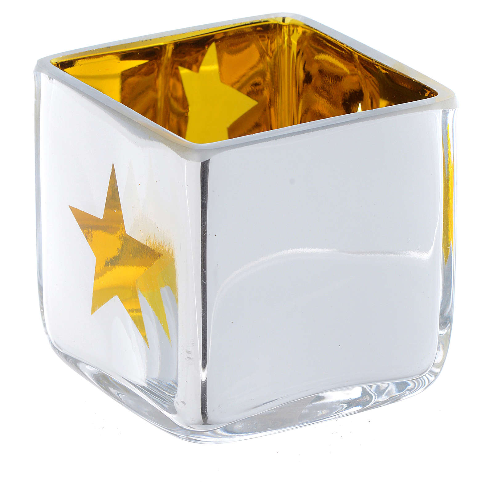 Christmas Tea light holder, square with yellow decoration 3