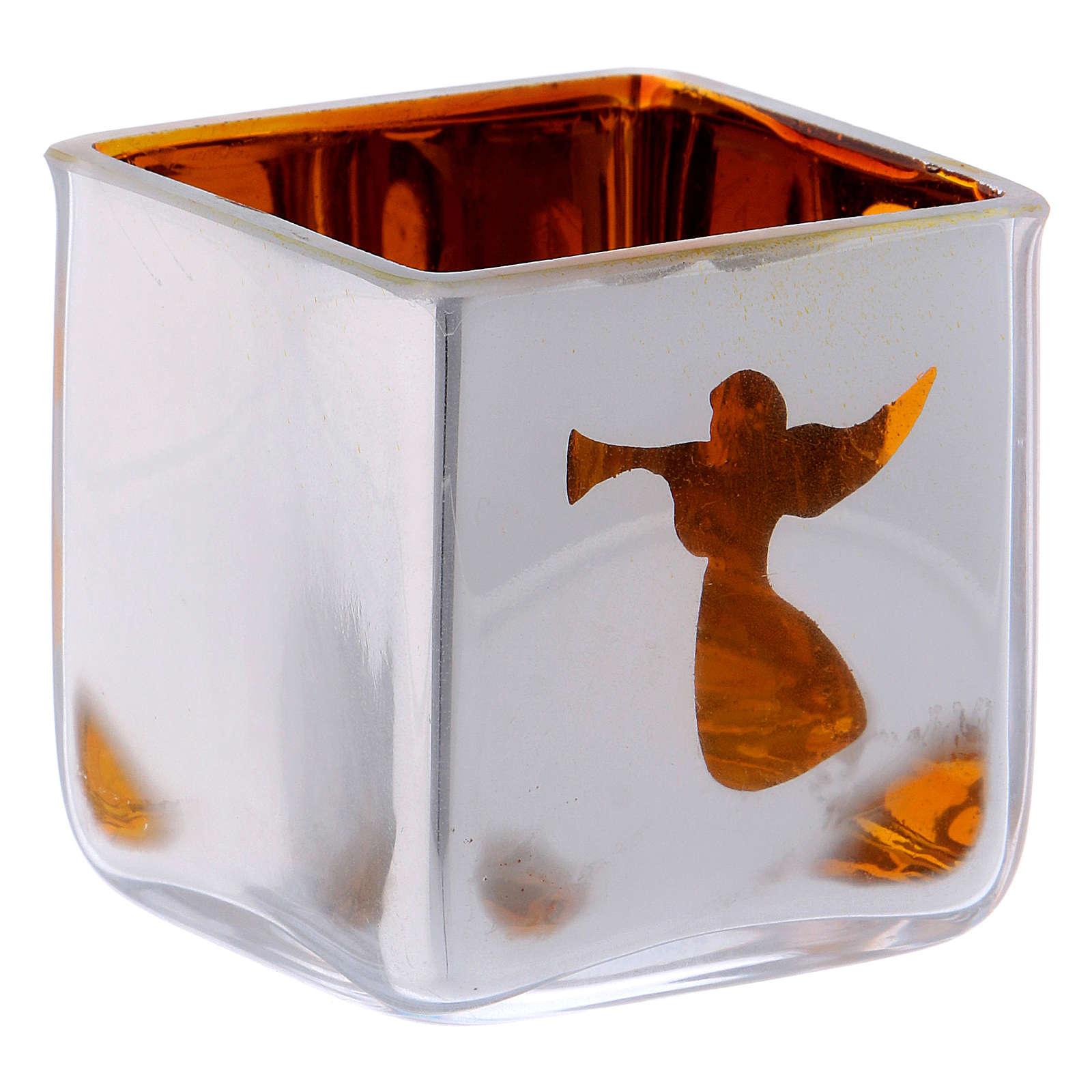 Christmas Tealight holder, square with yellow decoration 3