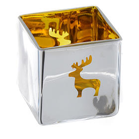 Christmas Tea light holder, square with yellow decoration s3