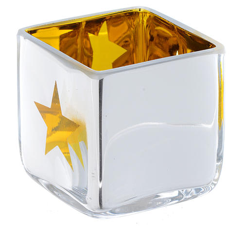 Christmas Tea light holder, square with yellow decoration 1