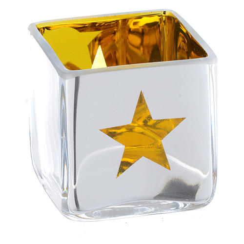 Christmas Tea light holder, square with yellow decoration 2