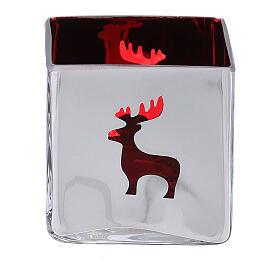 Tealight Stütze roten Glas mit Deko s1