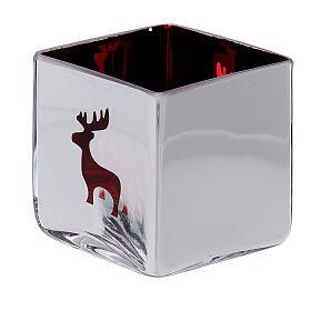 Tealight Stütze roten Glas mit Deko s2