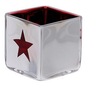 Tealight Stütze roten Glas mit Deko s3