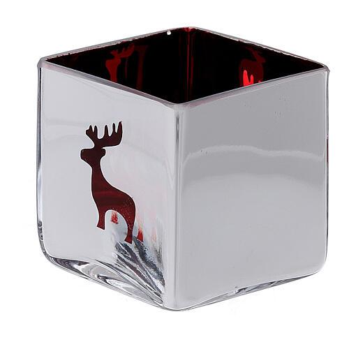 Tealight Stütze roten Glas mit Deko 2