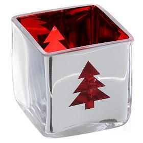 Porta vela de Navidad cúbico rojo con decoraciones surtidas s4