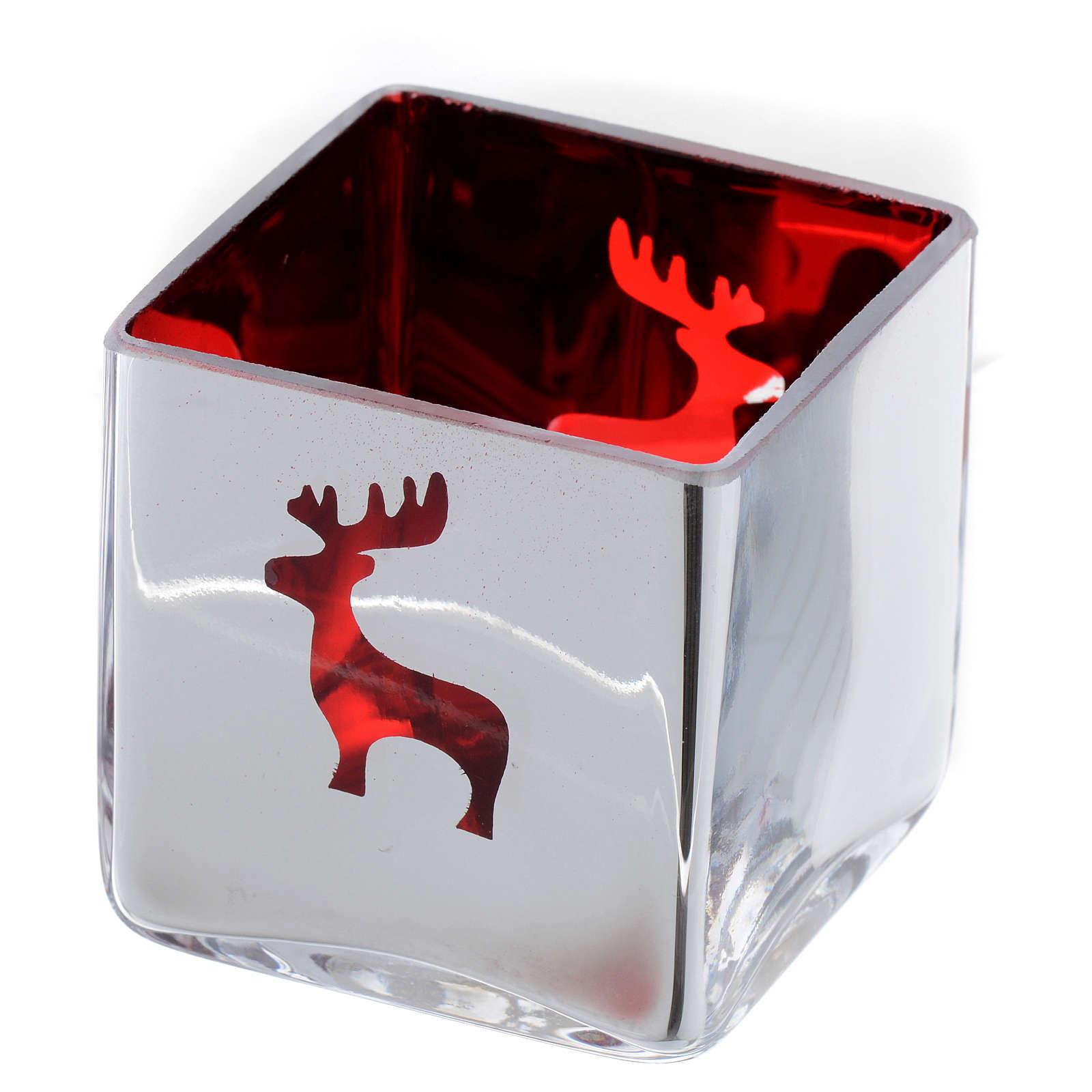 Portatealight di Natale quadro con decoro rosso (assortiti) 3