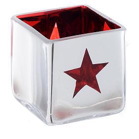 Portatealight di Natale quadro con decoro rosso (assortiti) s2