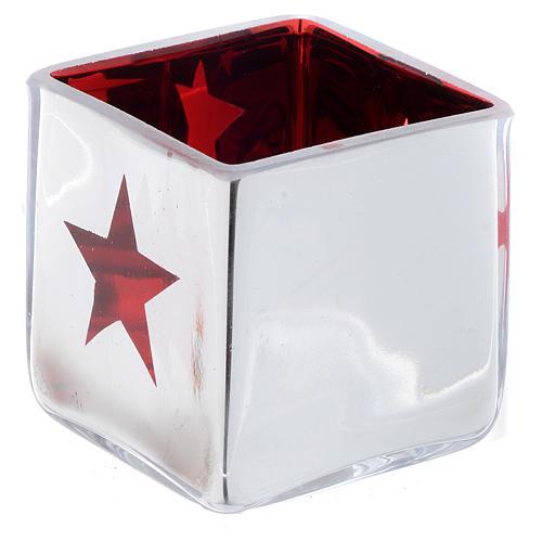 Portatealight di Natale quadro con decoro rosso (assortiti) 1
