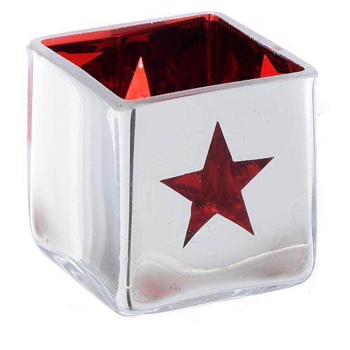 Portatealight di Natale quadro con decoro rosso (assortiti) 2
