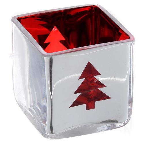 Portatealight di Natale quadro con decoro rosso (assortiti) 4