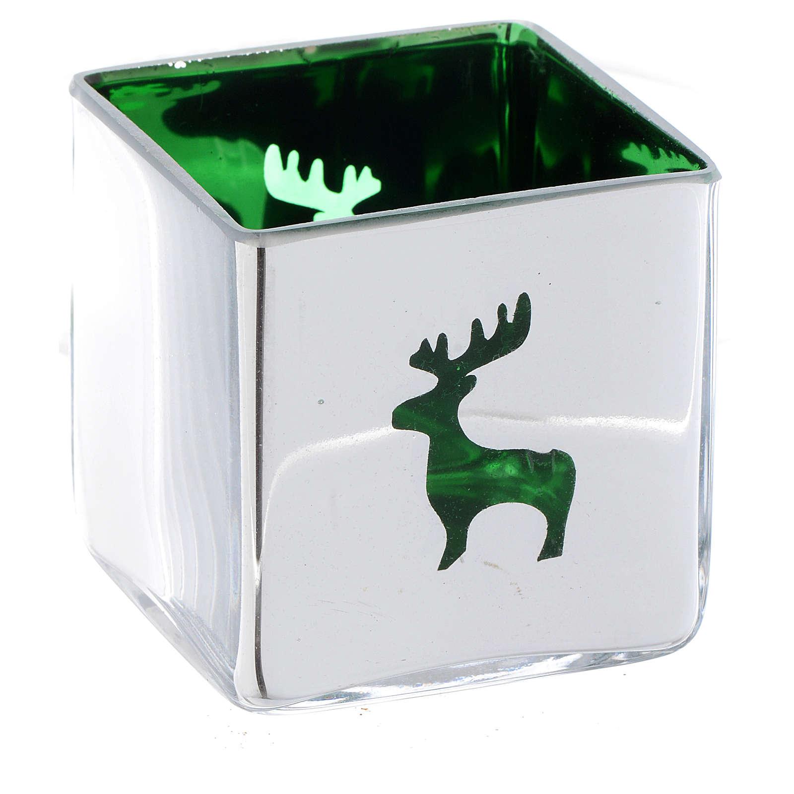Weihnachtlicher Teelichthalter, Würfelform, mit grünem Dekor, sortiert 3