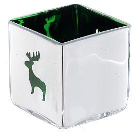 Weihnachtlicher Teelichthalter, Würfelform, mit grünem Dekor, sortiert s1