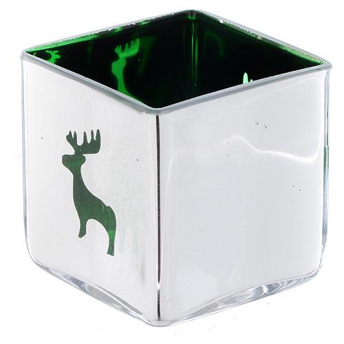 Weihnachtlicher Teelichthalter, Würfelform, mit grünem Dekor, sortiert 1