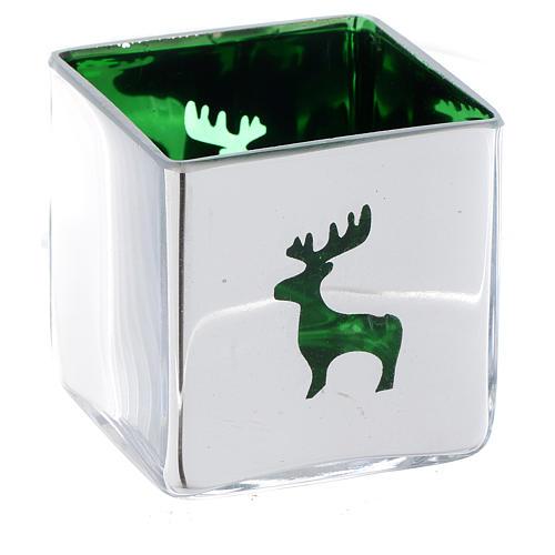 Weihnachtlicher Teelichthalter, Würfelform, mit grünem Dekor, sortiert 2
