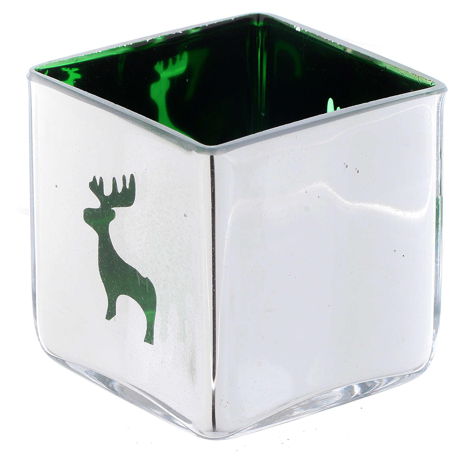 Porta vela de Navidad cúbico verde con decoraciones surtidas 3