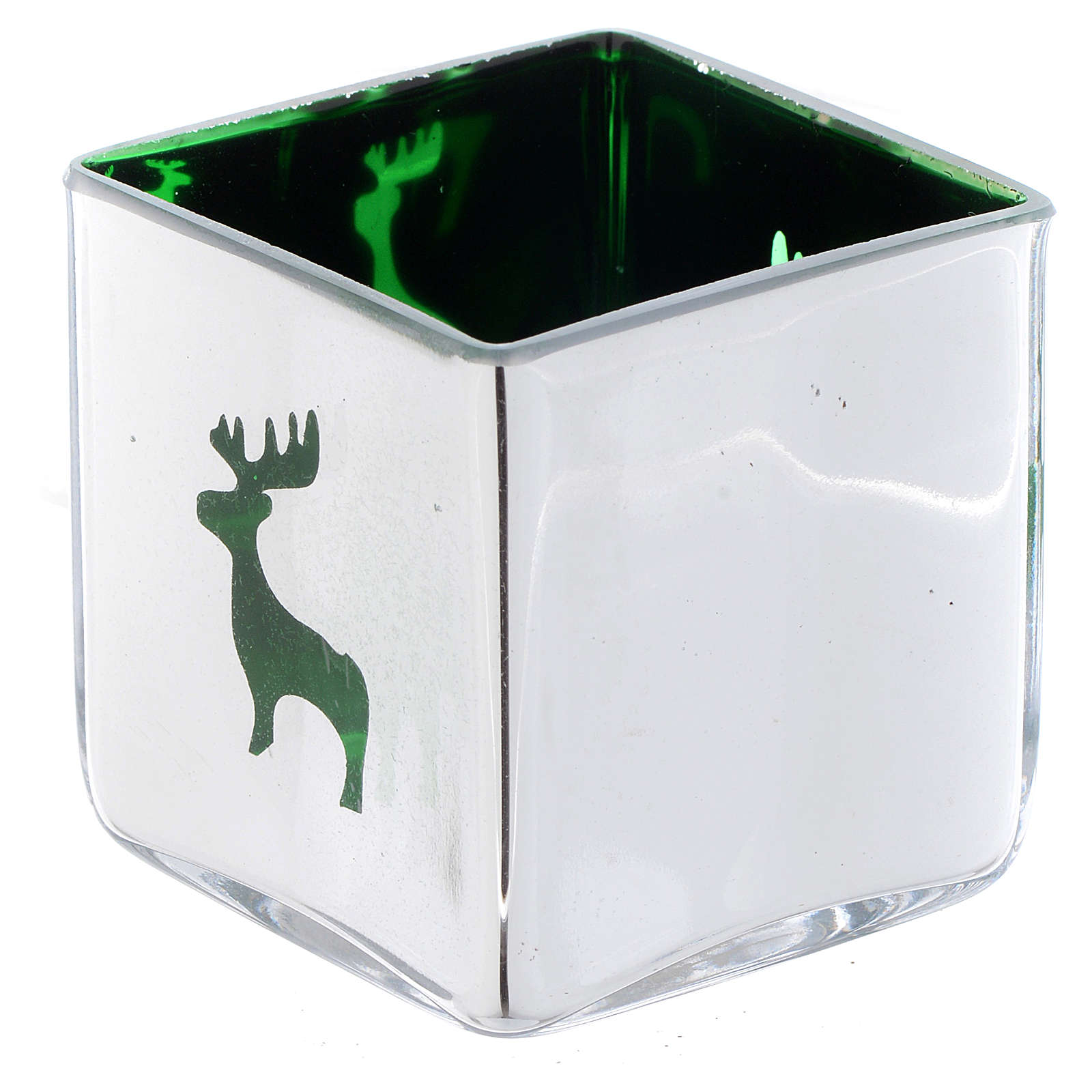 Castiçal velinha de Natal cúbico com decoração verde (modelos vários) 3