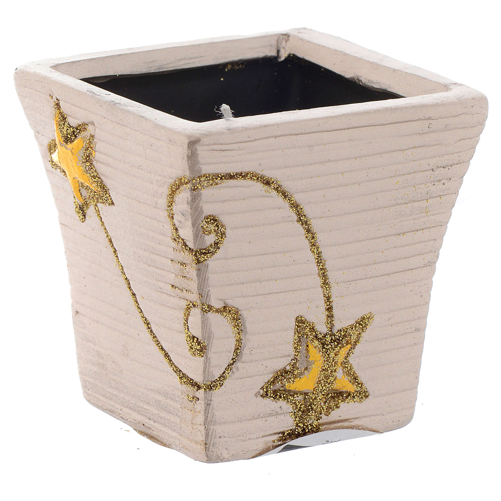Bougie Noël Golden Stars pot carré 3