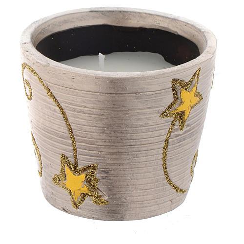 Candela Natalizia Golden Stars vasetto tondo 1
