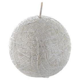 Christmas candle, comet model, spheric shaped silver colour 8cm s1