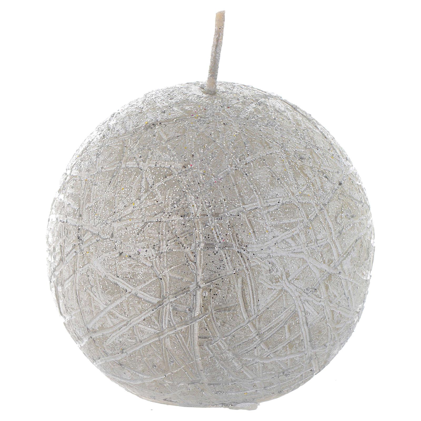 Bougie de Noël Comet sphère 8 cm argent 3