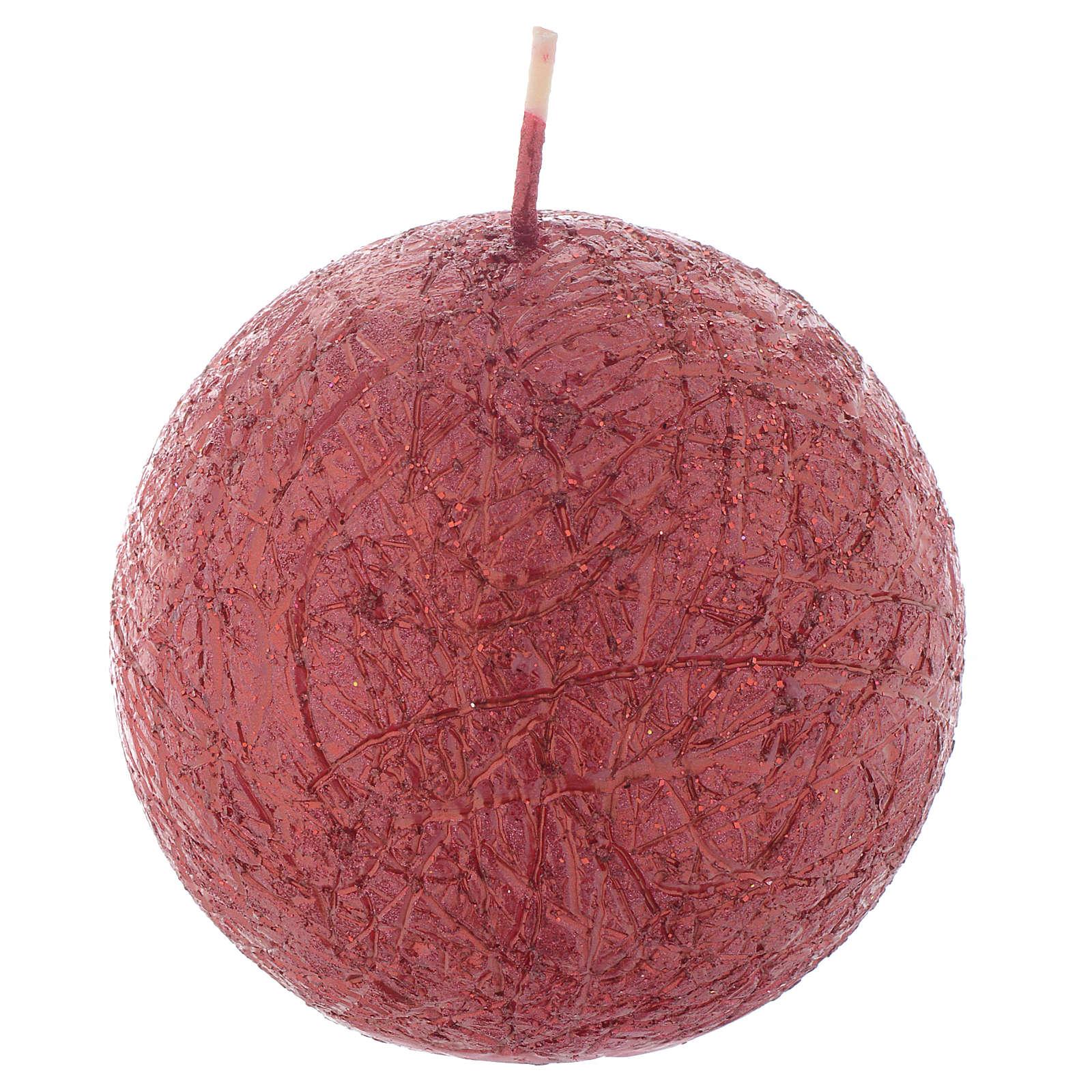 Bougie de Noël Comet sphère 8 cm rouge 3
