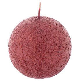 Velas de Natal: Vela Natalina Comet esfera 8 cm vermelha