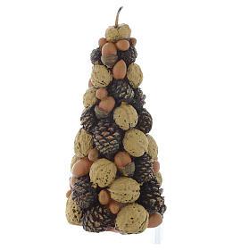 Świeca bożonarodzeniowa choinka z orzechów 20cm s2