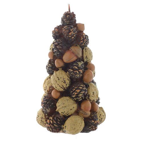 Weihnachtskerze Baum mit Nussen 15cm 1