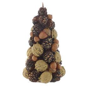 Vela navideña en forma de árbol con nueces, h 15 cm s1
