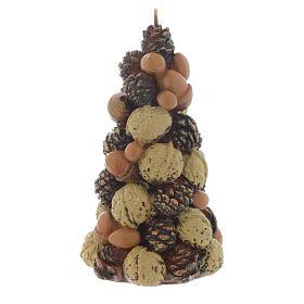 Bougie Noël sapin noix noisettes 15 cm s2