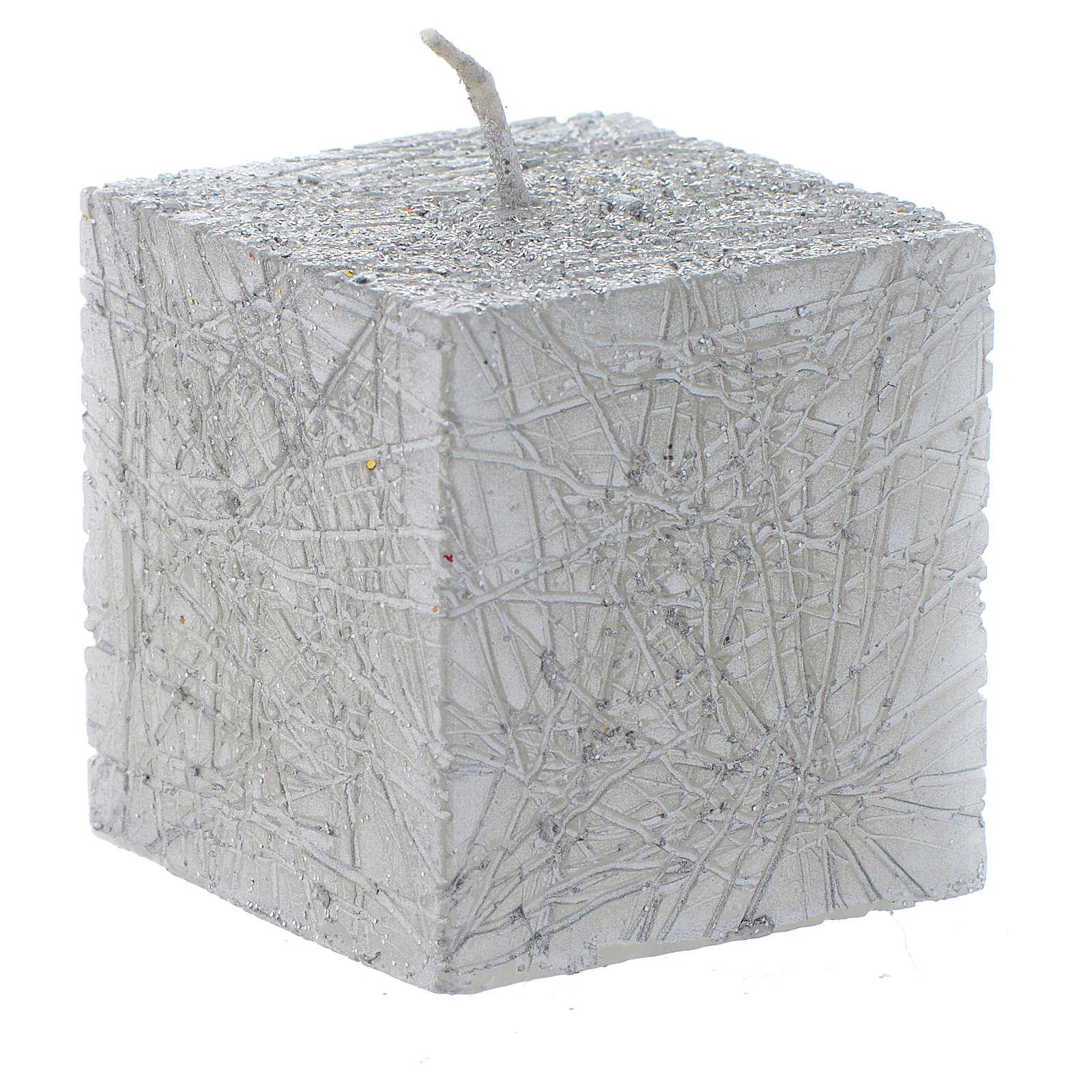 Bougie de Noël Comet cube 5x5 cm argent 3