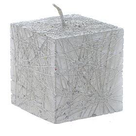 Bougies de Noel: Bougie de Noël Comet cube 5x5 cm argent