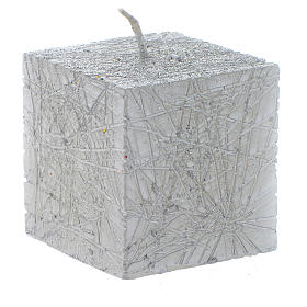Christmas candle, comet model, cubic shaped silver colour 5x5cm s1