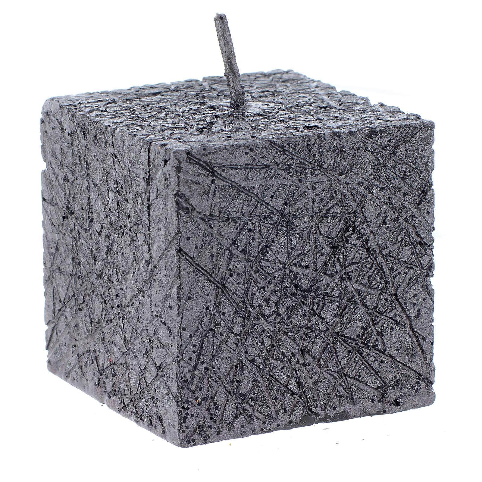 Christmas candle, comet model, cubic shaped charcoal grey colour 5x5cm 3