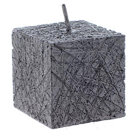 Christmas candle, comet model, cubic shaped charcoal grey colour 5x5cm s1