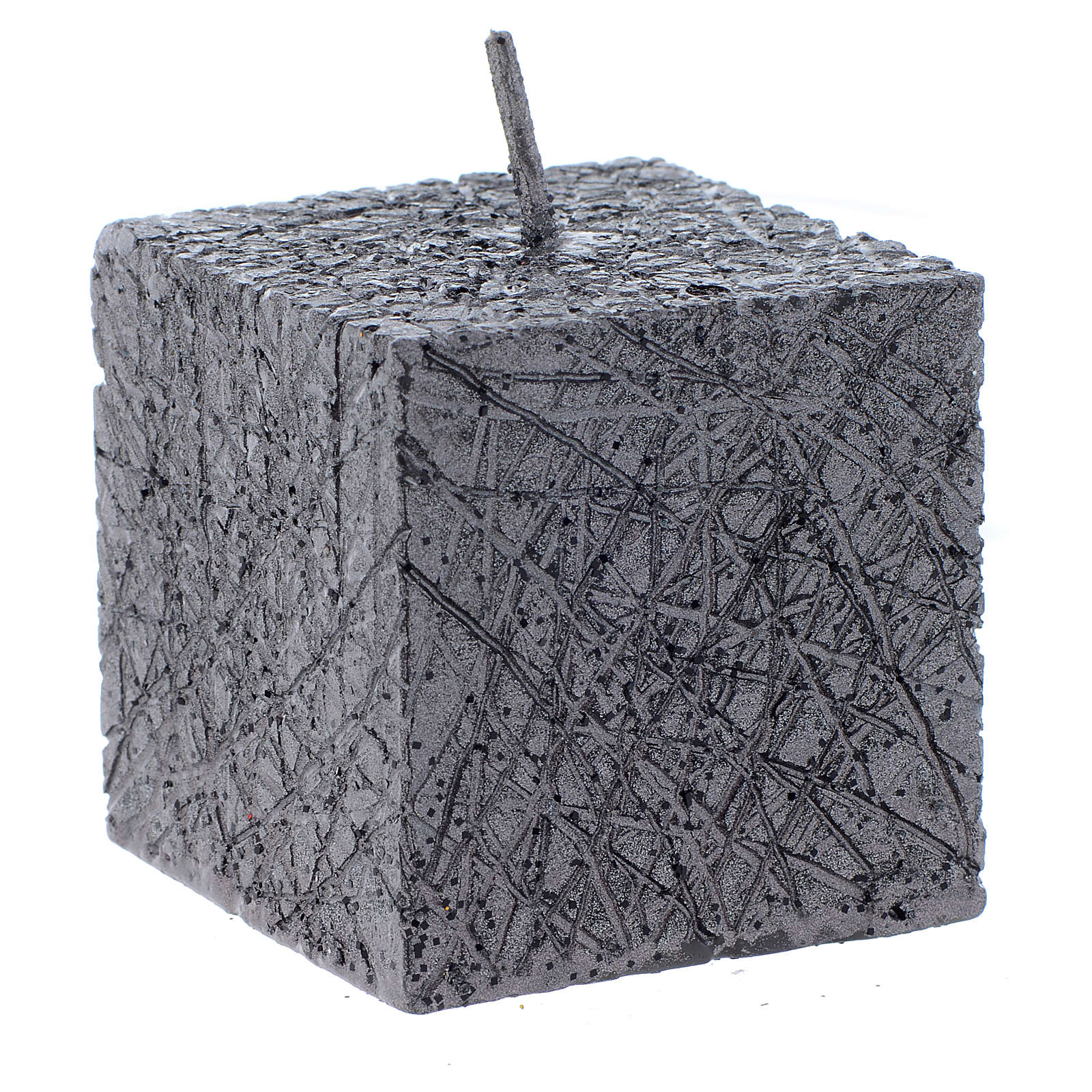 Christmas candle, comet model, cubic shaped charcoal grey colour 5x5cm 3
