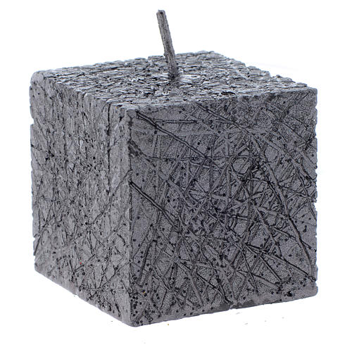 Christmas candle, comet model, cubic shaped charcoal grey colour 5x5cm 1